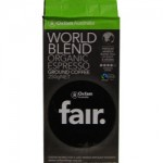 Oxfam fair. World Blend Organic Coffee