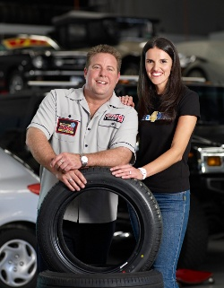 Shane, his consultant Adele and the spare tyre he has lost