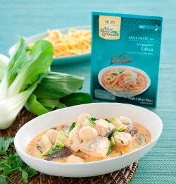 Asian Home Gourmet scallops and barramundi laksa broth