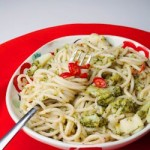 Spaghetti with broccoli chilli and garlic 2