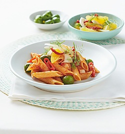 64_Spicy penne rigate with olives and Sicilian fennel salad
