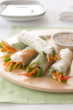 Persimmon Prawn Rice Paper Roll 1