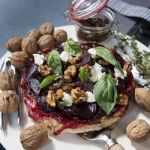 Recipe: Sweet Balsamic Beetroot Tart with Goats Cheese, Basil and Candied Walnuts