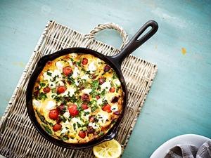 Chorizo Tomato Pan Omelette