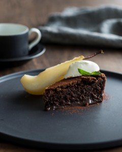 Chocolate Mousse Cake with Poached Pears & Crème Fraiche