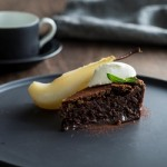 Recipe: Chocolate Mousse Cake with Poached Pears and Creme Fraîche