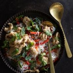 Crispy Chicken on Asian Rice Noodle Salad