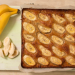 Recipe: Square Flour-less White Chocolate Slice with Orange Blossom and Banana