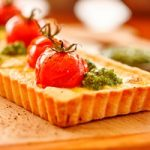 Recipe: Tomato, Onion and Goat's Cheese Tart with Macadamia Pesto and Crust