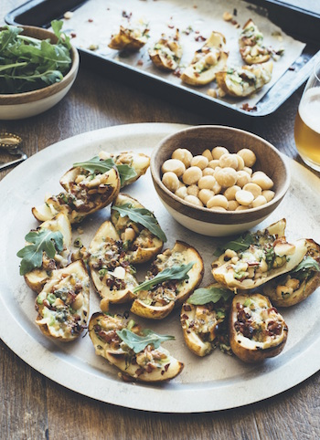 1509 Roasted potato skins with macadamias, bacon, rocket and blue cheese (1)